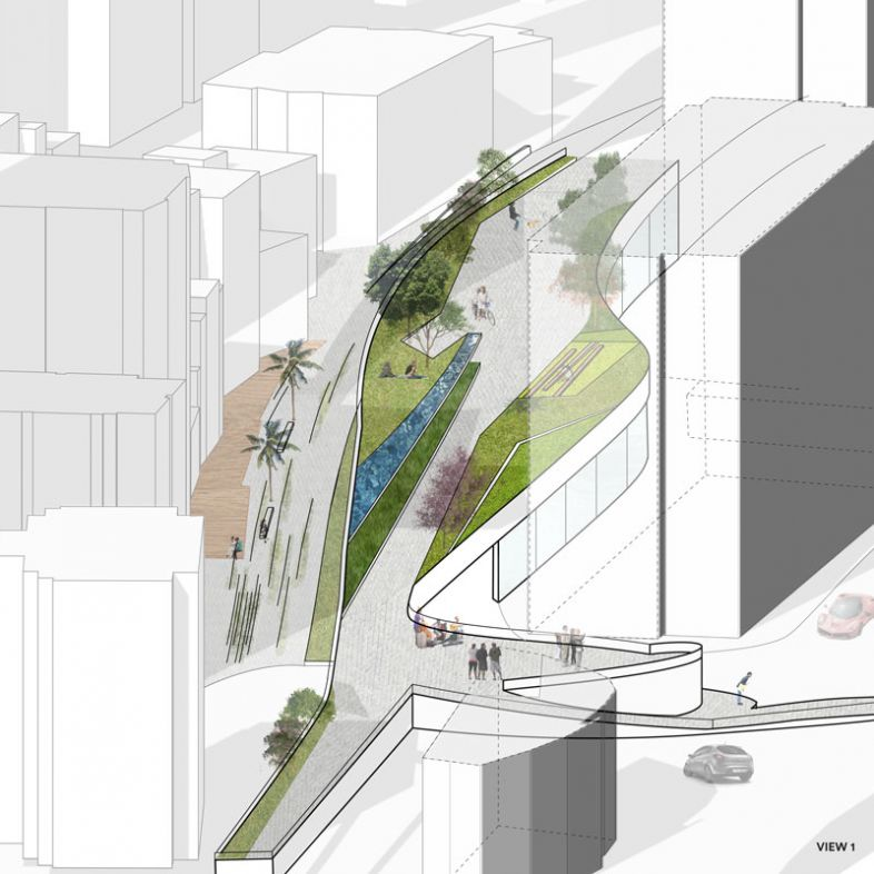 A pedestrian friendly programmatic landscape and loop linking the water from to the inner residential area on higher level- a project by Xiaoyuan Zhang