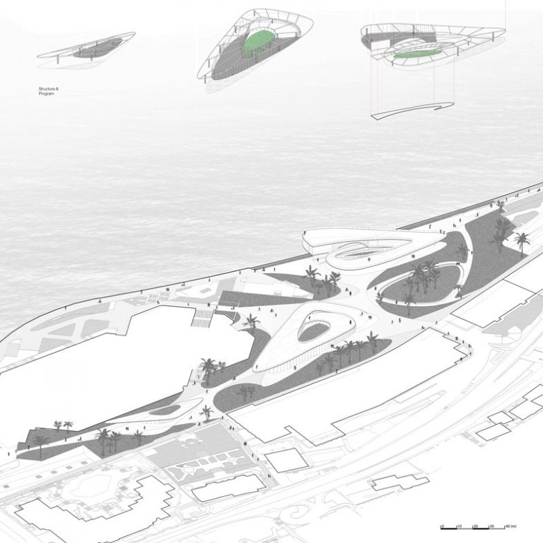 Regeneration of the waterfront area of the Forum Grimaldi into a programmatic multi functional landscape- a project by Mingchen Cui